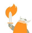 viking holding sword vector image