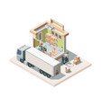 warehouse building with truck and cargo isometric vector image