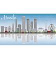 Manila Skyline with Gray Buildings Blue Sky vector image