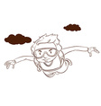 A plain drawing of a boy skydiving vector image vector image