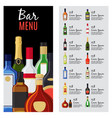 alcohol drinks menu template vector image vector image
