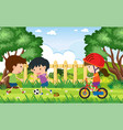 background scene with kids playing in park vector image vector image