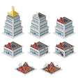 Bank building isometric set vector image vector image