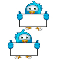 Blue Bird Holding Blank Sign vector image vector image