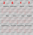 Business template of 2017 calendar on grey square vector image vector image