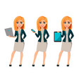 cartoon character businesswoman with blonde hair vector image