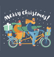 couple transportation christmas tree gift boxes vector image