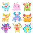 cute smiling toothy monsters friendly funny vector image vector image