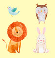 cute watercolor animal set vector image