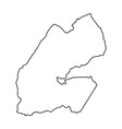 djibouti map of black contour curves on white vector image