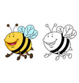 educational coloring book-bee vector image vector image