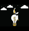 female working on idea bulb vector image vector image