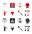fire safety flat icons set vector image