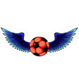 football with wings isolated on white vector image vector image