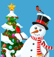 funny snowman character and christmas tree vector image vector image