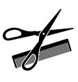 hairdressing scissors and comb vector image vector image