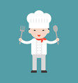 happy cute chef holding big spoon and big fork vector image vector image