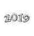 happy new 2019 year holiday of silver metallic vector image vector image