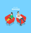 isometric flat concept of reading favorite vector image