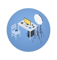 Isometric photographer workplace vector image vector image