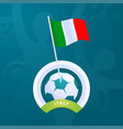 italy flag pinned to a soccer ball european vector image