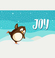 joy greeting card with penguin on skates vector image vector image