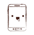 kawaii tablet device icon in monochrome blurred vector image