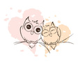 Love owls on a branch vector image