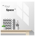 mock up wall scene with school supplies vector image vector image