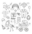 outline set for newbornsbaby stroller and clothes vector image vector image