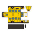 paper model of an old school bus vector image