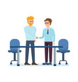 partners discussing at table in office questions vector image vector image