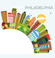 philadelphia skyline with color buildings blue vector image vector image
