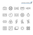 photography line icons editable stroke vector image