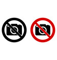 photography not allowed sign camera icon in vector image