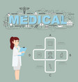 physician with medical icons of infographic design vector image vector image
