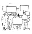 protesting people with blank signs crowd vector image vector image
