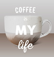 Realistic transparent glass cup of cappuccino and vector image vector image