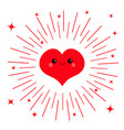 red heart face head icon cute cartoon kawaii vector image vector image