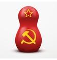 Russian tradition matrioshka dolls in USSR flag vector image