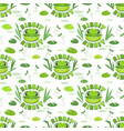 seamless pattern with funny frog faces vector image vector image