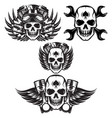 set monochrome image on motorcycle theme with vector image vector image