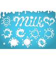 set of milk splashes dripping blots vector image vector image