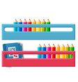shelf for multicolored pencils isolated on white vector image