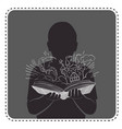 silhouette avatar boy magic book vector image vector image