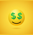 smiling rich emoticon with dollar sign eyes vector image vector image