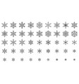 snowflake simple black line icons snow set vector image vector image