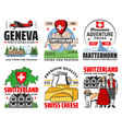 switzerland travel swiss alps mountain map flag vector image