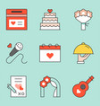 wedding organizer icon set filled outline icon vector image vector image