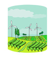 Wind power on a green meadow vector image vector image